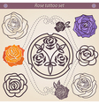 Rose tattoo floral silhouette set vector image vector image