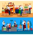 Customers Of Supermarket Compositions vector image