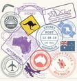 australia travel stamps set sydney vector image