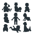 Baby kids silhouette vector image