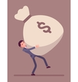 Businessman dragging a giant money sack vector image