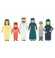 cartoon arab muslim family set vector image