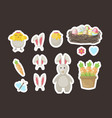 easter stickers gift tags labels with cute vector image