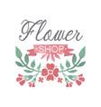 flower shop colorful logo badge in vintage style vector image