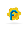 Letter F with fan or tech sun symbol logo vector image