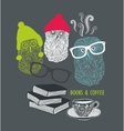 Three cute owls with books and cup of coffee vector image