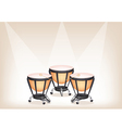 Classical Timpanis on Brown Stage Background vector image vector image