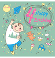 Birthday of the little boy 4 years vector image vector image