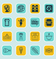 set of 16 eating icons includes wheat fresh vector image