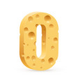 number zero of cheese on white background for vector image vector image
