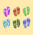 flip flops set colorful beach wear men s and vector image