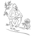 gorilla family on tree vector image