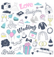 freehand wedding hand drawn doodle with bride vector image