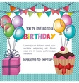 happy birthday card with balloons air party vector image