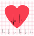 Heart icon with electrocardiogram on grid vector image