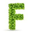 Letter F alphabet of green leaves vector image