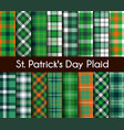 seamless patterns green st patrick day plaid vector image