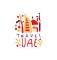 travel logo design with uae dubai landmarks vector image