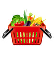 vegetables in supermarket basket isolated vector image