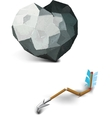 stone heart and a broken arrow of Cupid vector image vector image