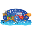 Santa with reindeer vector image