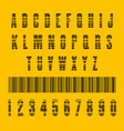 stylish barcode typeface font stripped letters of vector image
