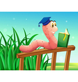 A worm reading a book above the fence vector image vector image