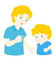 father scolds his son cartoon character vector image