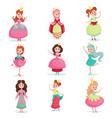 beautiful cartoon princess girls in a ball dress vector image
