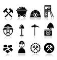 Coal mine miner icons set vector image