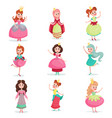 beautiful cartoon princess girls in a ball dress vector image