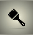 brush icon in flat style black and white colors vector image
