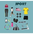 Fitness isolated icons set Sport equipment and vector image
