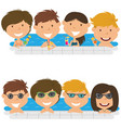 young teens having fun in outdoor swimming pool vector image