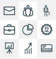 trade outline icons set collection of briefcase vector image