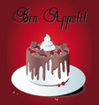 Chocolate cake on a tray on a red background bon vector image