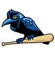 raven mascot and the baseball bat vector image