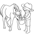 Coloring book child feeding horses vector image