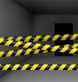 Dark room with danger tape vector image
