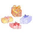 Gifts for Christmas with ribbon and poinsettia vector image