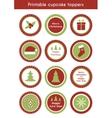 Christmas printable cupcake toppers vector image