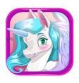 cartoon app icon with cute unicorn face vector image
