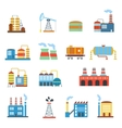 Industrial building factories and plants icons set vector image