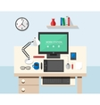 Flat style office workspace vector image vector image