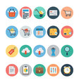 Flat Shopping and Commerce Icons 1 vector image