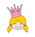 Little blond princess with pink crown isolated vector image vector image