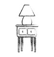 wooden table with lamp decoration home sketch vector image