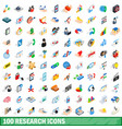 100 research icons set isometric 3d style vector image