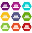 Building icon set color hexahedron vector image