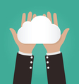 Two hands holding paper clouds Cloud computing vector image